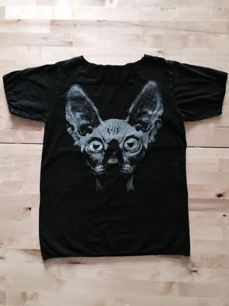 39efb1196 Sphynx Cat Fashion Pop New Wave Fashion T-Shirt Stone Wash | Etsy