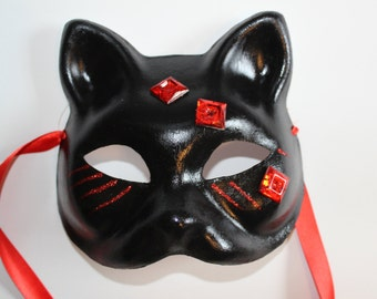 Cat Mask black with red decoration