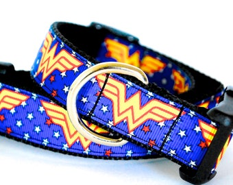 """Super Hero Dog Collar, Woman Dog Collar, Blue and Gold Dog Collar, Wonder Dog Collar, 1"""" thick collar, breakaway collar"""
