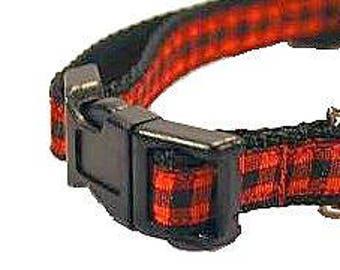 "Red and Black Dog Collar, Plaid Dog Collar, Small Dog Collar, Lumberjack Dog Collar, Cat Collar, 1/2"" thick collar, breakaway collar"
