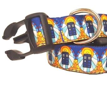 "Police Call Box Dog Collar, Tardis Dog Collar, Dr Who Dog Collar, Sci Fi Dog Collar, 1"" thick collar, breakaway collar"