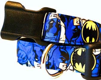 "Super Hero Dog Collar, Gotham Dog Collar, Blue and Black Dog Collar, Big Dog Collar,Extra Large Dog Collar, 1"" thick collar breakaway collar"