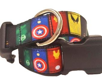 "Super Hero Dog Collar, Avengers Dog Collar, Marvel Dog Collar, Big Dog Collar, Extra Large Dog Collar, 1"" thick collar breakaway collar"