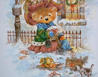 Vintage Christmas Card - Victorian Teddy Bear Pushing Doll Stoller - Unused Giordano