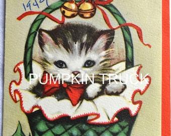 Vintage Christmas Card - Kitten in Basket - Used 1949 Eva Harta