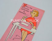 Vintage Greeting Card - Mod Secretary Lady with Pink Typewriter - Used Norcross