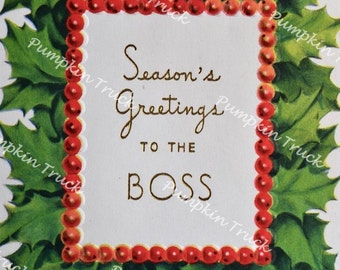 Boss christmas card etsy unused vintage christmas card seasons greetings to the boss m4hsunfo