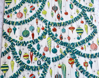 vintage christmas wrapping paper 1950s ornaments and atomic stars full unused jumbo sheet - Vintage Christmas Wrapping Paper