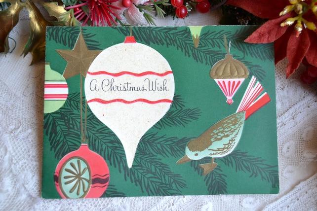 Vintage Christmas Card - Mid Century Bird Tree Ornaments  - Used Glitter