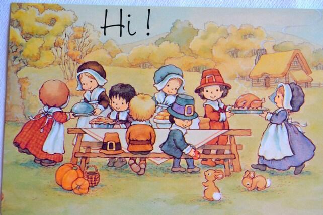 Vintage Thanksgiving Greeting Card - Children Pilgrims Turkey Feast - Unused
