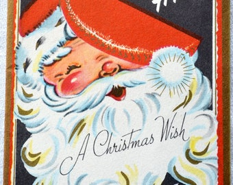 Vintage Christmas Card - Santa with Hat Over One Eye - Used