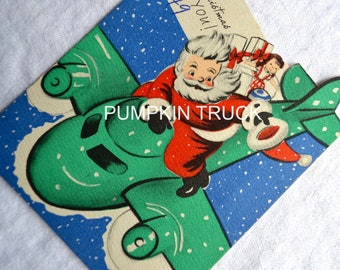 Vintage Christmas Card - Santa Claus in Airplane - Used 1949
