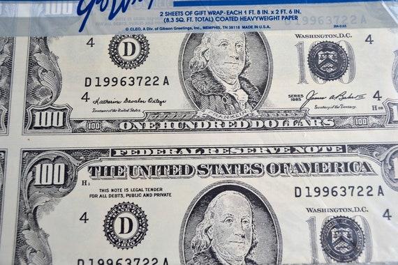 vintage wrapping paper hundred dollar bills 2 full sheets