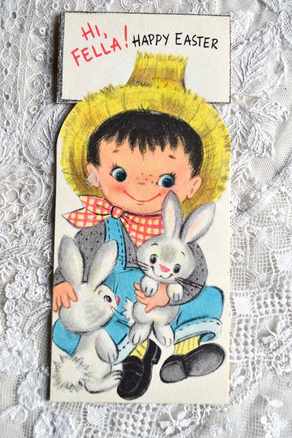 Vintage Easter Card - Farm Boy and Bunny Rabbits - Used Glitter