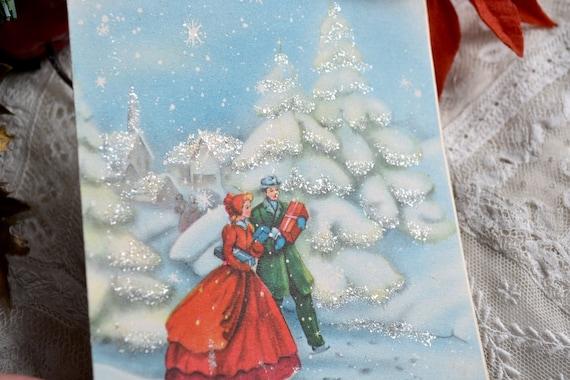 Vintage Christmas Card - Victorian Man and Woman Walking Through Winter Wonderland - Used Glitter