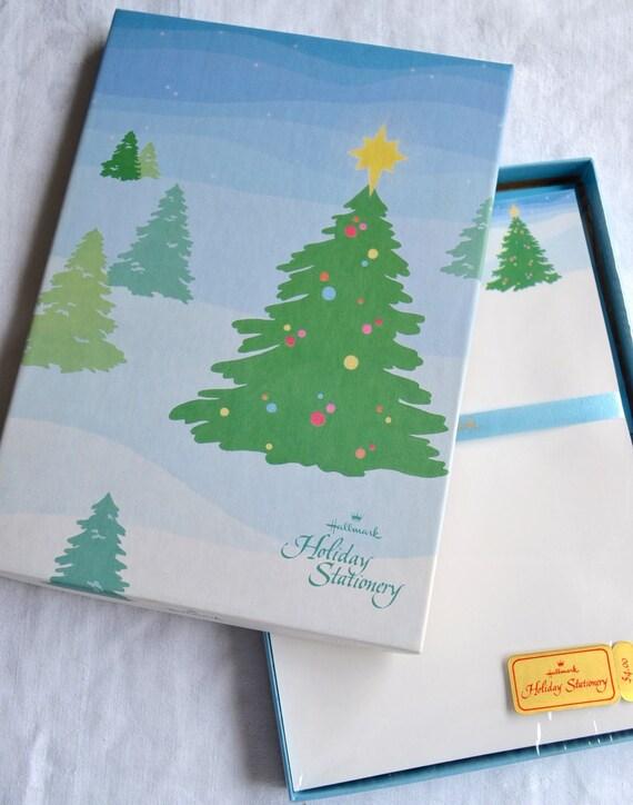 vintage hallmark christmas stationery set decorated trees etsy