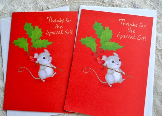 Vintage Christmas Thank You Cards Holly Mouse 6 Notecards Etsy