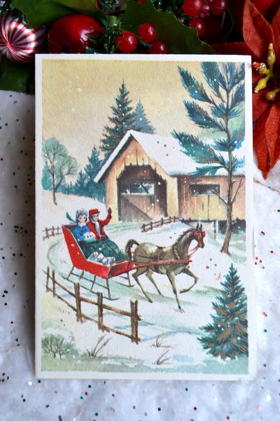 Vintage Christmas Card - Open Horse Sleigh Yellow Covered Bridge - Unused