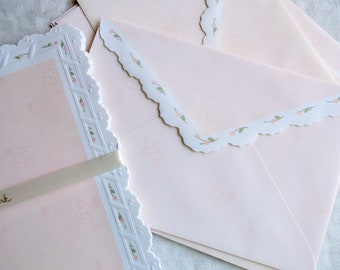 Vintage Stationery Set - Embossed Scalloped Edge Pink Roses Paper and Envelopes - Hallmark