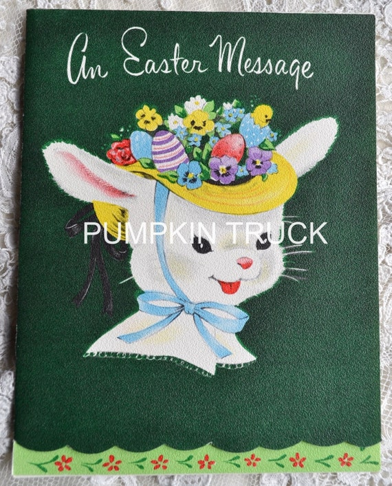 Vintage Easter Card - Easter Bunny in Bonnet - Unused