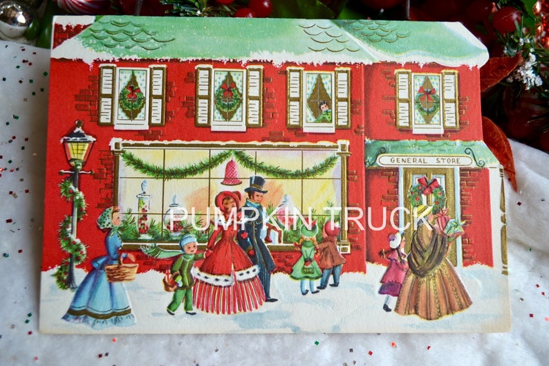 Unused Vtg Christmas Post Card Victorian Carolers w Candle Lantern Outside House