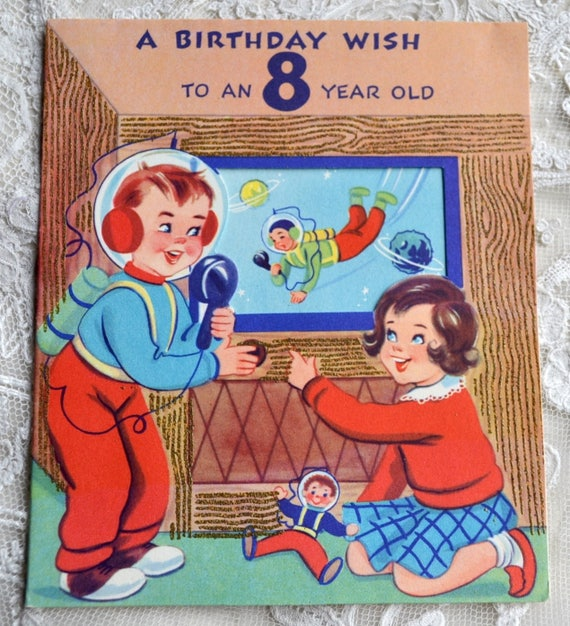 Vintage Birthday Card Eight Year Old Boy And Girl Atomic