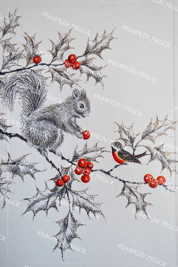Vintage Christmas Card - Squirrel Giving Bird a Red Berry - Used