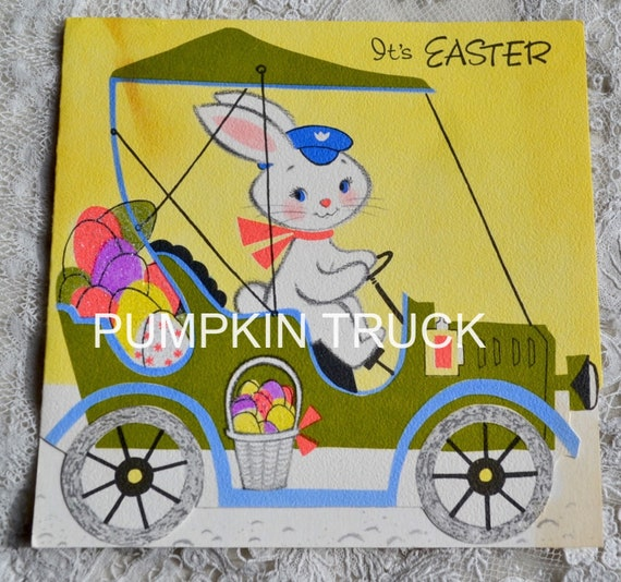 Vintage Easter Card - Bunny Rabbit Driving Car Filled with Glitter Eggs - Used