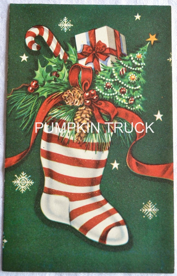 Vintage Christmas Card - Mid Century Filled Stripe Stocking - UNUSED Hawthorne