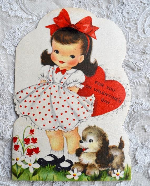 Vintage Valentines Day Card , Red Polka Dot Dress Girl and Puppy , Unused  Hallmark