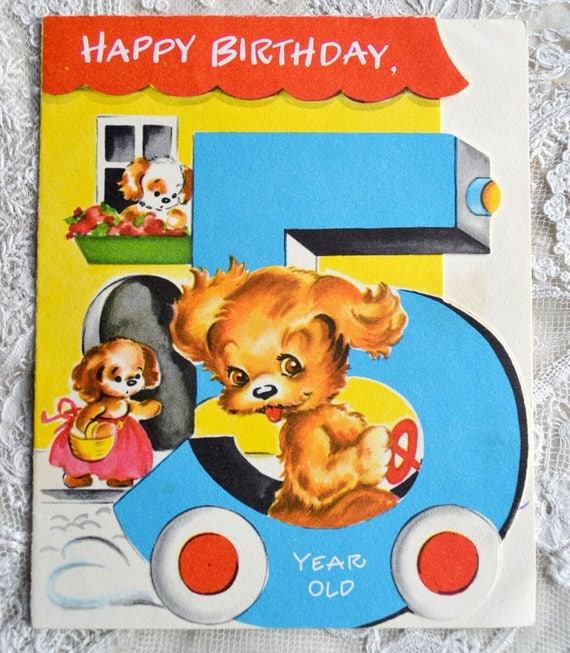 Vintage Birthday Card Five Year Old Puppy Driving Car Used
