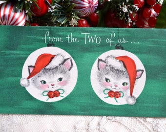 Vintage Christmas Card - From the Two of Us Santa Hat Kittens - Used