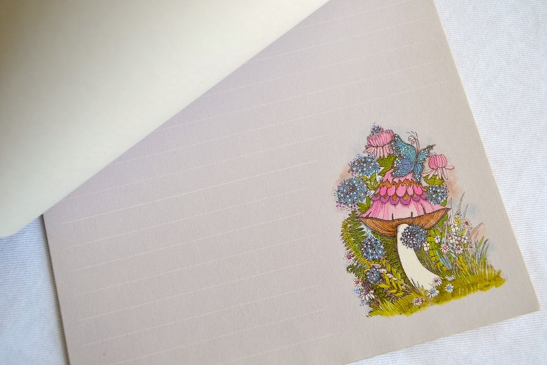 Vintage Writing Paper Stationery Mod Pink Mushroom Butterfly on Lavender 40 Sheets