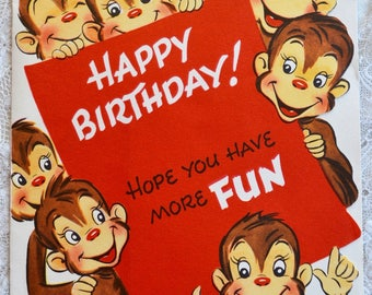 Vintage Birthday Card - Pop Up Barrel Full of Monkeys - Used