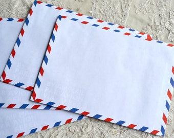 Vintage Airmail Envelopes - 11 Par Avion Water Mark - 6 3/8 x 4 1/2 - Lined Firmo
