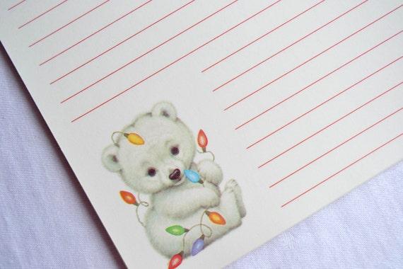 Vintage Christmas Stationery Note Pad Morehead Baby Polar Bear Writing Paper 30 Sheets