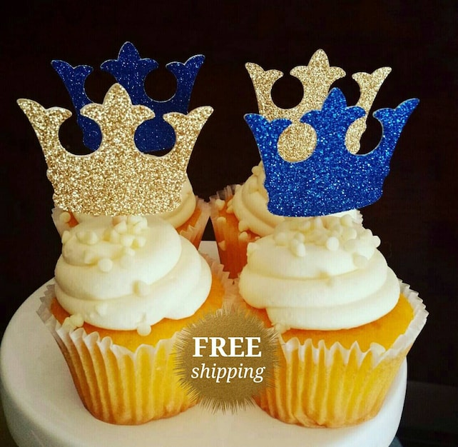 Prince Crown Cupcake Toppers Glitter Crown Toppers Gold Royal | Etsy