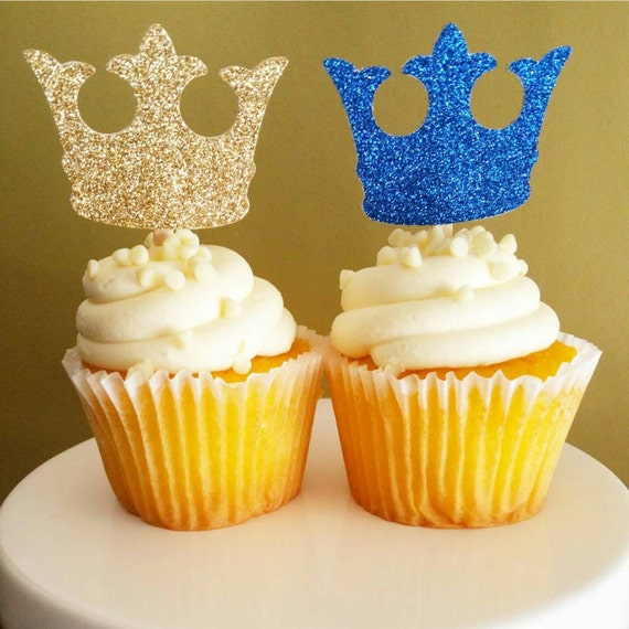 Crown Decorations Cupcake Toppers Royal Prince Baby Shower Decorations 12CT.