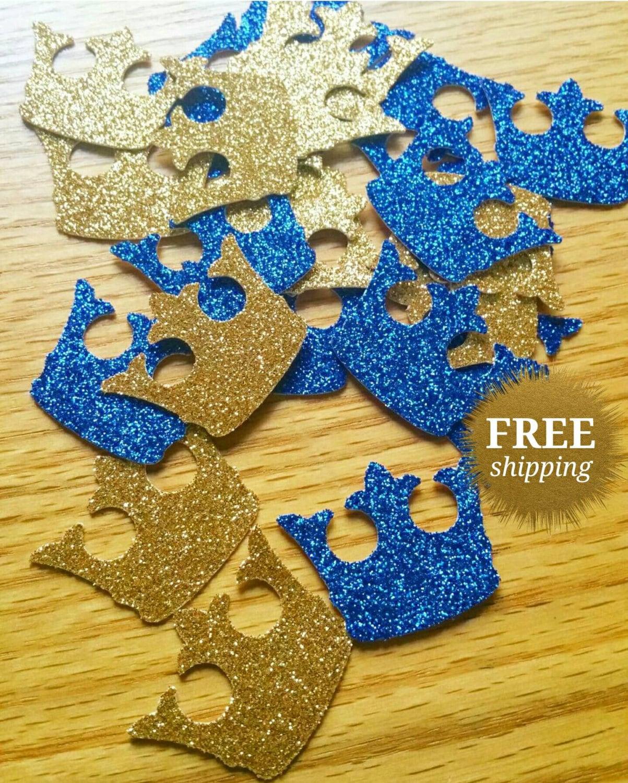 Royal Confetti Crown Confetti Gold Crown Confetti Royal Blue | Etsy