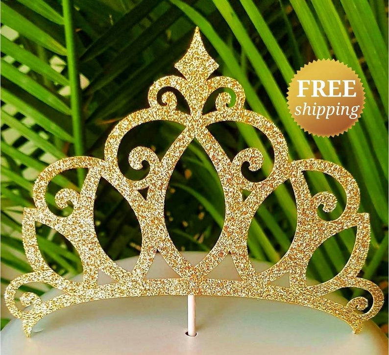Princess Crown Cake Topper Gold Glitter Crown Cake Topper  d7a6af6f0826