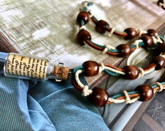 Brown and Teal Twist Knot Necklace- (English 10 Commandment Vial)