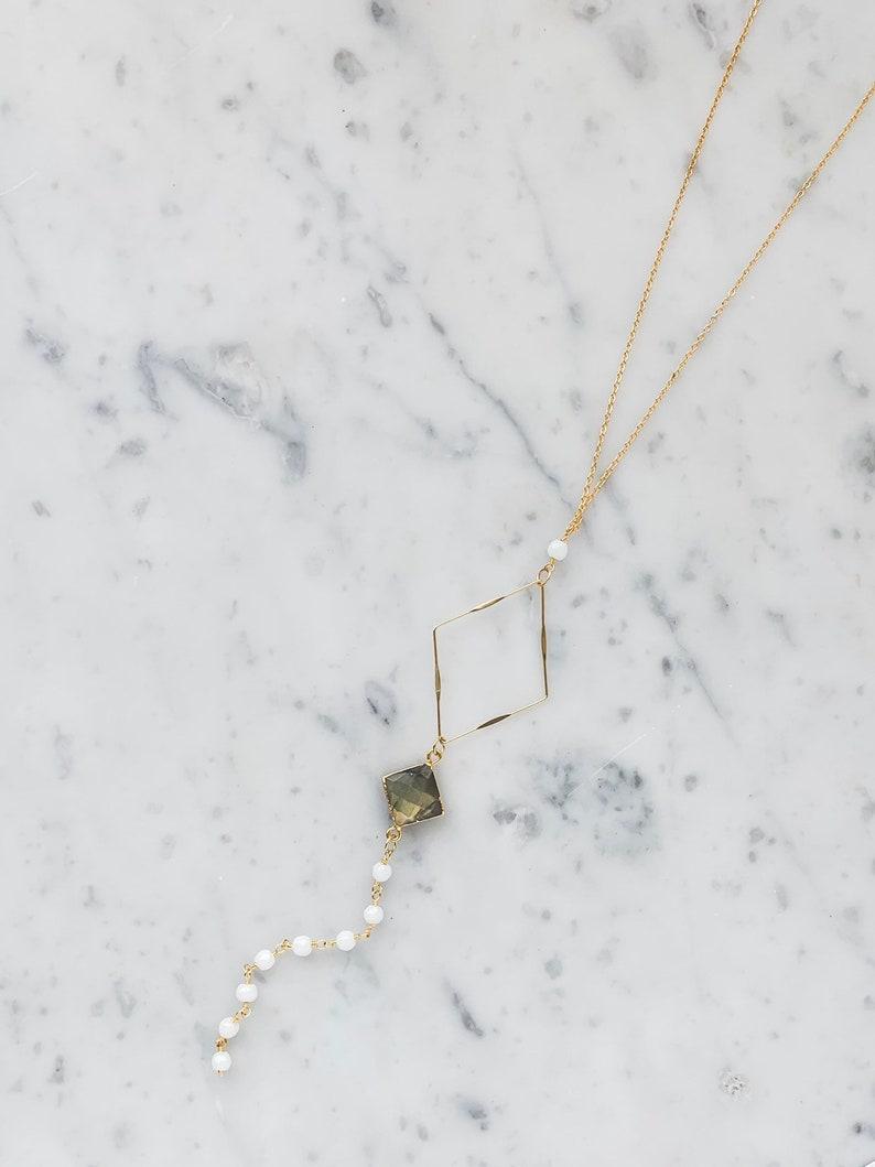 Diamond Labradorite Lariat