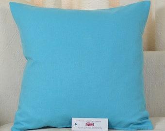 """Cotton Blend Cushion Cover 16.5"""" x 16.5"""" (42cm x 42cm) Turquoise Blue"""