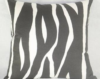 "Zebra Animal Print CUSHION COVER 16"" x 16"" (41cm x 41cm) Black White 100% Cotton"