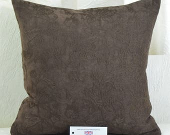 "Chocolate Brown Chenille Cushion Cover 17"" x 17"" with Floral Machine Embroidery Detail"