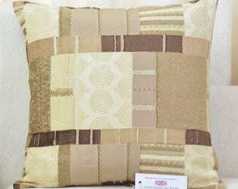 "Fryetts Prague Natural Patchwork Chenille Cushion Cover 17"" x 17"""