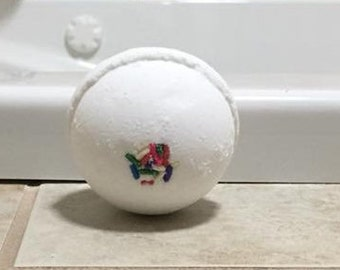Birthday Cake Bath Bomb 4.5 oz size All Natural Handmade White Rainbow Sprinkles Aromatherapy Spa Fizzy