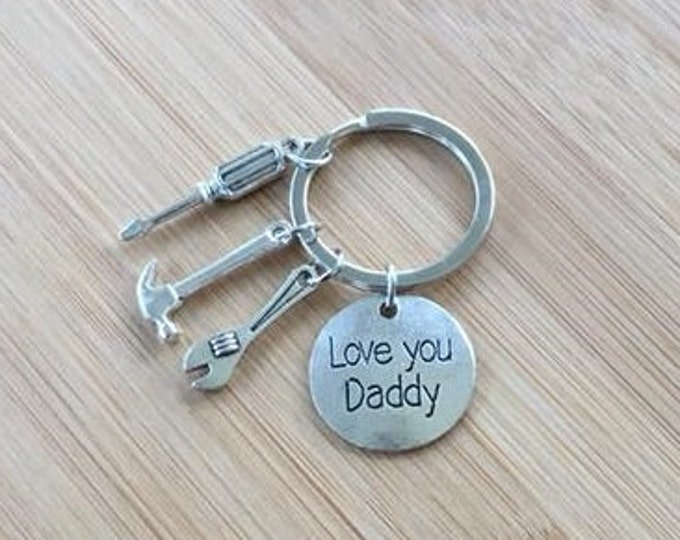 Love You Daddy stamped disc keychain fathers day daddy tool charms hammer screw driver wrench