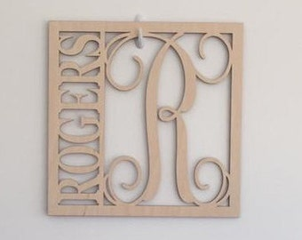 "12"" Wood Square Monogram Initial Last Name Unfinished"
