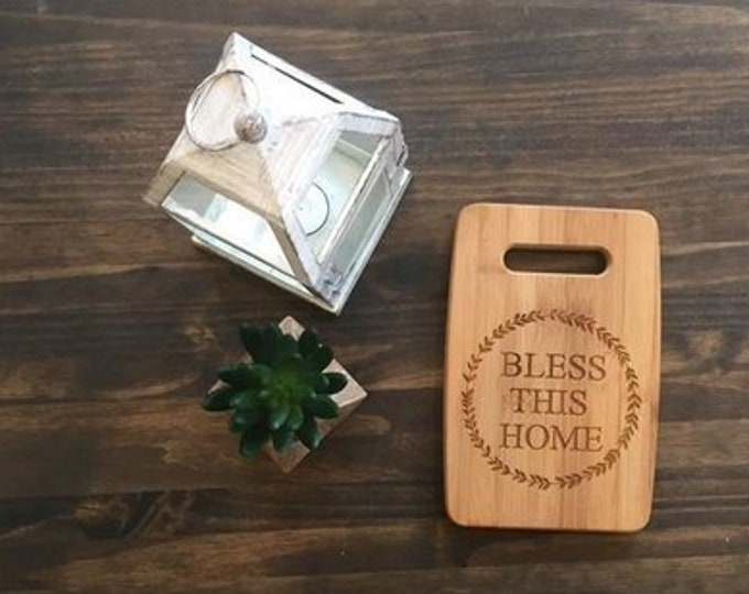 "Medium Size 9x12"" Laser Engraved Bamboo Cutting & Serving Board Bless This Home"